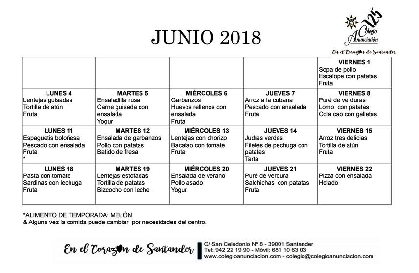 menú junio